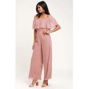 SAGE the Label Lulus Pink Off Shoulder Jumpsuit